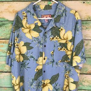 Caribbean Joe Mens Hawaiian Button Down Shirt Blue